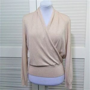 Lafayette 148 New York Gold Shimmer Wrap Front Top